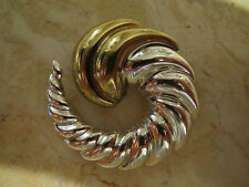 Taxco Mexico Modernist Bubble Horn/Shell Brooch Pendant Sterling 925 & Brass