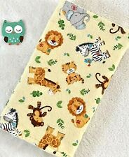 Handcrafted, Flannel Jungle Animal Print & Yellow Minky Bubble, Baby Burp Cloth