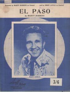 "MARTY ROBBINS  Rare 1959 Australian Only OOP Original Pop Sheet Music ""El Paso"""