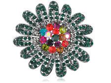 Rhinestone Pin Brooch Shiny Jewelry Trendy Costume Flower Multicolor Diamante