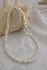 """STUNNING NEW HONORA  18"""" WHITE 8MM-11MM  RONDELL NECKLACE SS LOBSTER CLAW CLASP"""