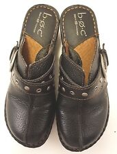 WOMEN'S SLIP ON MULES BY B.O.C.  US SIZE 6M/W;EUR36.5 BLACK LEATHER UPPER