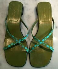 Adorable Kate Spade Olive Green sandals w/green &  light blue polka dot straps