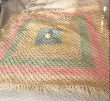 A Hand Knit Crocheted Pastel Baby Security Blanket Afghan Throw Lined Vintage