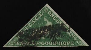 Cape of Good Hope 1858 1sh yellow green Sg#8 /Sc6 F-VF ,all clear margins