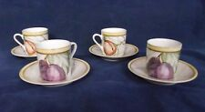 "American Atelier ""Pompeii Fruit"", Espresso, Coffee, Tea Cup & Saucers, Set of 4"