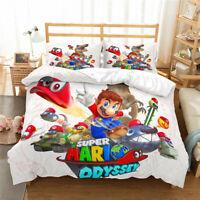 3D Super Mario Odyssey Duvet Cover Bedding Set Mario Comforter Cover Pillowcase