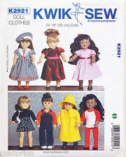 "KWIK SEW SEWING PATTERN 2921 46CM/18"" DOLL CLOTHES - DRESSES LEOTARD, SKIRT, HAT"