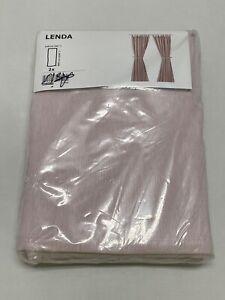 "Ikea LENDA Curtains with tie-backs 55x118 "" 1 pair, light pink - NEW"