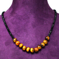 70.00 Cts Natural Faceted Black Spinel & Tiger Eye Round Beads Necklace NK 22E60