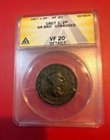 1807 1/2 PENNY Great Britain NGC VF 20 DETAILS CORRODED