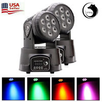 2PCS 105W 7 LED RGBW Beam Moving Head Stage Lighting DMX512 Disco DJ Party Light