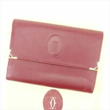 Cartier Wallet Purse Trifold Mastline Red Woman unisex Authentic Used T6714