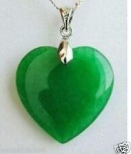 Fashion Jewelry Green Jade Heart Shape Silver emerald Pendant /necklace