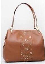 Michael Kors  Leighton Studded Large Luggage Tan Leather Shoulder Bag Purse $428