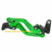 Short Green CNC Adjustable Brake Clutch Levers Set For Kawasaki ZX9R 1998-1999