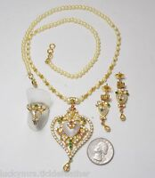 Full Parure Set Necklace/Earrings/Ring, Ornate Hearts, Faux Pearls, Crystals, GP
