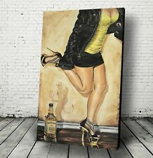 """Dancing with the Devil"" BAR WALL ART Jack Daniels Canvas Painting pinup decor"
