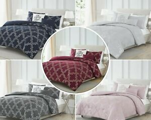 Adriana 5 Piece Foil Comforter Set Modern Print Olivia Gray Queen, King 5 Colors