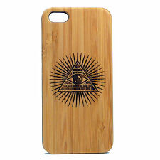 Illuminati Pyramid BAMBOO Case made for iPhone SE, 5 & 5S phones All Seeing Eye
