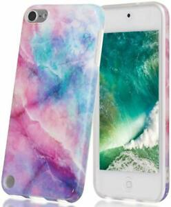 iPod Touch 5th 6th 7th Gen - HARD RUBBER SKIN CASE PINK PURPLE WATERCOLOR MARBLE