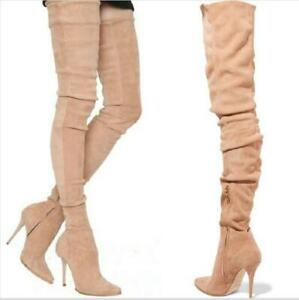 Sexy Womens Super Long High Stilettos Pointy Toe Over Knee High Leg Thigh Boots