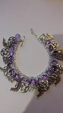 Pagan*Wiccan*Amethyst Purple tear drop Charm Bracelet Pentagram*Gypsy style*