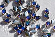 (50 beads) Czech Glass Two Hole Beads: GemDuo® Backlit - Petroleum #26601