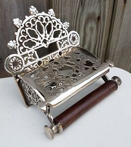 Victorian Style Solid Brass Toilet Roll Holder Chrome Finish With Wooden Loop
