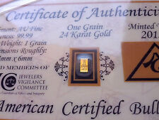 x5 Vertical 24K Gold 99.99 Pure 1GRAIN Bullion Bar Certificate Authenticity