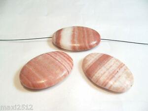 3 x Red Malachite Jasper Beads : BNRMJ04 Flat Oval