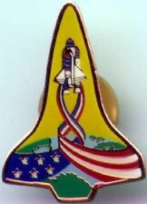 NASA Space SHUTTLE Launching with USA Flag Ribbon KSC LAPEL PIN BADGE Mint New!