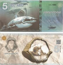 5 Ice Age Dollars 2015 UNC Private Issue Banknote - Megalodon Shark