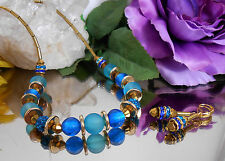 2er SET Halskette + Ohrringe Glas Strass Silberfolie Hämatit Röhrchen Türkis
