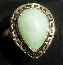 """New listing 9ct Gold Natural Pear Shape Jade Ring from Qvc's """"Gems Of The Orient"""" Range"""