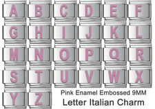 LETTER ITALIAN CHARM PINK ENAMEL 1 x 9mm LINK - ABCDEFGHIJKLMNOPQRSTUVWXYZ