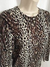 0617143 J CREW Cardigan Sweater M Animal Print Button 3/4 Sleeve Cotton Knit Top