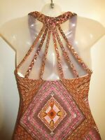Sky Clothing Brand S Dress Braided Handkerchief Mini Brown Pink Printed Beach