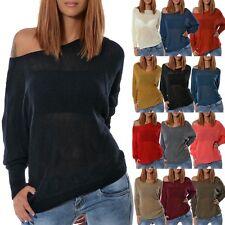 Damen Winter Pullover Strick Pulli Sweater Sweatshirt Longshirt Shirt Top Bluse