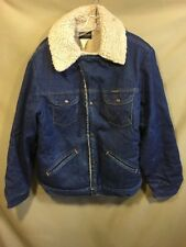 Wrangler Vintage Style Sherpa Lined Denim Jacket Rustic L Snap Front USA MADE