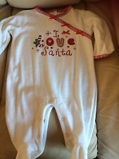 embroided,in red, I love Santa, white/red baby grow 0-3 months,bows,poppers,feet