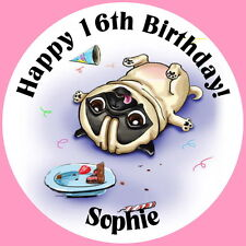 PUG DOG PERSONALISED GLOSSY  PARTY STICKERS, SEALS LABELS  ANY AGE