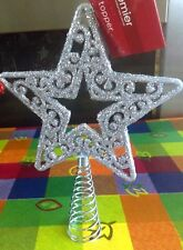 FESTIVE GLITTER SHINY STAR SHAPED CHRISTMAS TREE XMAS DECORATION TOPPER TOP 17CM