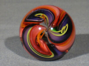 Marbles: Hand Made Art Glass James Alloway Dichroic 3 Cane #3103    1.34inch