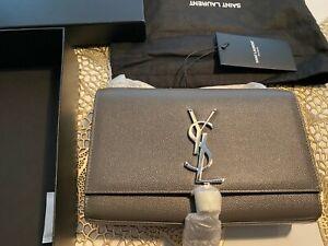 New Saint Laurent YSL Yves Kate Small Tassel Silver Grain Bag embossed leather