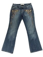 Women's MIXIT Petite Stretch Denim Jeans Size 6 Embellished Distressed Boot Cut