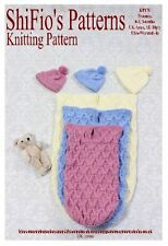 KNITTING PATTERN BABY COCOON PAPOOSE preemie, 0-3, 3-6mths #170 NOT CLOTHES