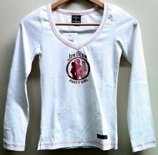 JIM BEAM OFFICIAL 'PARTY' WOMEN'S LONG SLEEVE V-NECK T-SHIRT ($39.99rrp) SIZE: 8