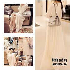 WHITE MAXI VINTAGE BOHO DRESS SIZE 8 AU WOMENS NEW