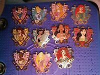 Disney Pins- Jeweled Princess Shield Crest,Disney Shanghai, COMPLETE SET